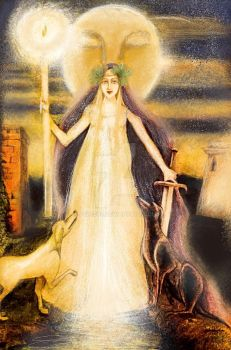 Goddess Hecate and her dogs