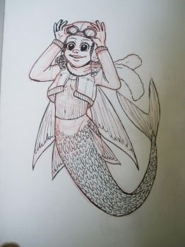 Daily Sketch 05 - flyingfish mermaid by QueenOfSpade
