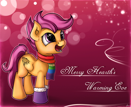 Scootaloo wishes you a Merry Hearth's Warming Eve by Neko-me