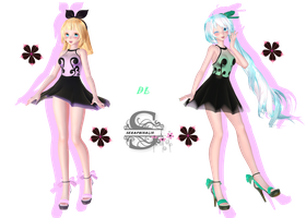 Tda Sheer Dress Miku and Rin : DL !!! by Evelyn-sama