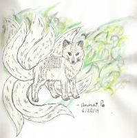 Mythical Nine-tailed arctic fox  Day 3 Final by SwirlyCat147
