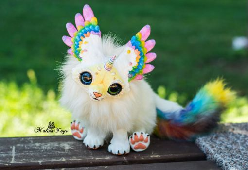 Poseable toy commission Winged fox by MalinaToys