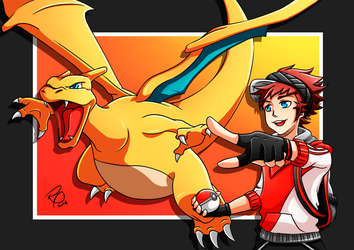 Pokemon Go - Trainer and Charizard by ryster17