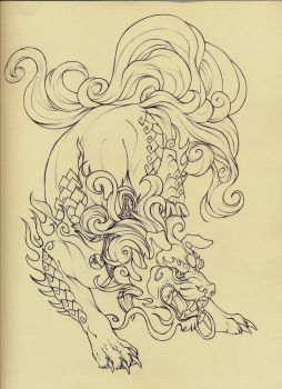 Foo Dog lineart by Quinneys