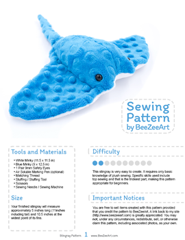 Sting Ray Plush Sewing Pattern by BeeZee-Art