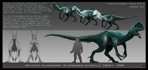 Dilophosaurus design sheet by KamikaziTeddy