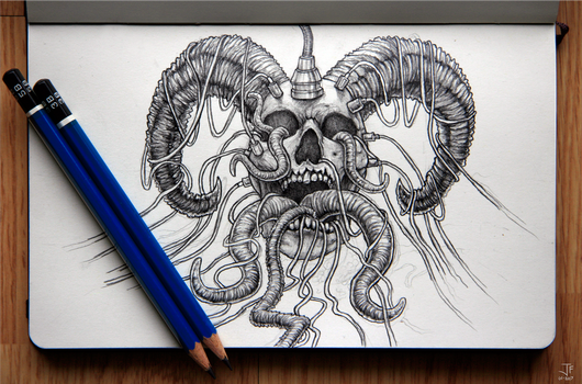 Wired Demon Head - Sketch by Jack-Burton25