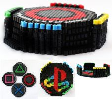 PlayStation Drink Coasters with Container by ThePlayfulPerler