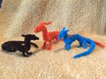 Two Minis and a Basic Orange Pipecleaner Dragon by IsellaHowler