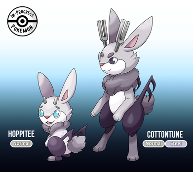 Fakemon - Hoppitee and Cottontune by InProgressPokemon
