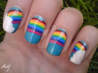 Huge Rainbow Nail Design by AnyRainbow