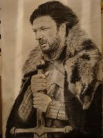 Ned Stark Charcoal on canvas by guismo29