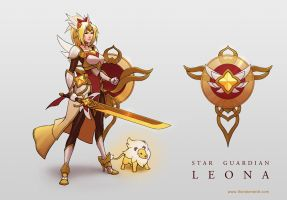 LoL skin concept: Star Guardian Leona by Shockowaffel