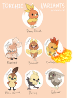 Torchic Variants #2: Electric Boogaloo by Dominos-Cat