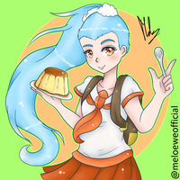 Three Emoji Challenge - Backpack, Flan and Wave by Meloewe