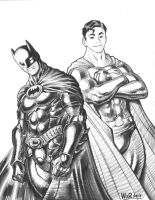 2009 BATMAN and SUPERMAN con sketch by AdamWarren
