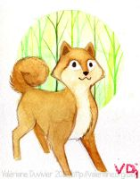 Mini watercolor : Shiba Inu by kineko
