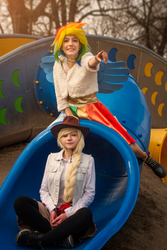 Look there! - Rainbow Dash and Applejack Cosplay by annemcosplay