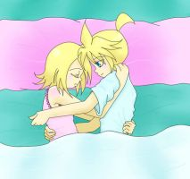Len and Rin sleeping by TifaVII