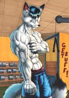 Demi in the gym -colored- by Demi-Beast