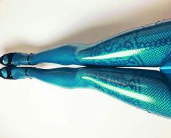 trickster.fishnets.transparent.turquoise.leggings  by LauraDeluxe