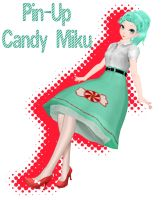 [MMD PMX] Pin-Up Candy Miku [Model DL] by MamaMarzipan