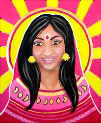 Indian Woman - 'Sun' Tarot Card - Acrylic Painting by LoVeras