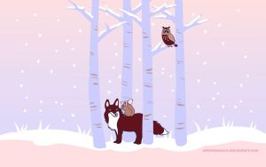winter forest wallpaper by mllemlesucre