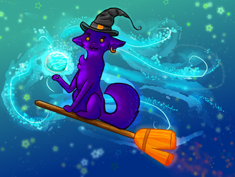 Witch Cat by cutecatandrabbit