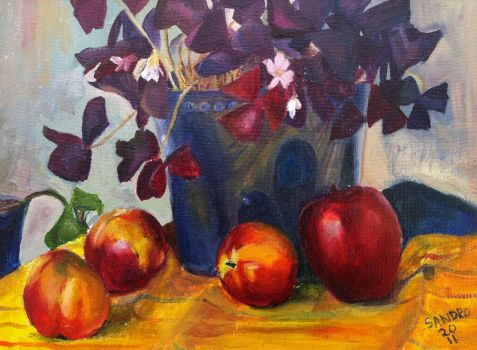 Still Life w Peaches n Apples by sandreezy