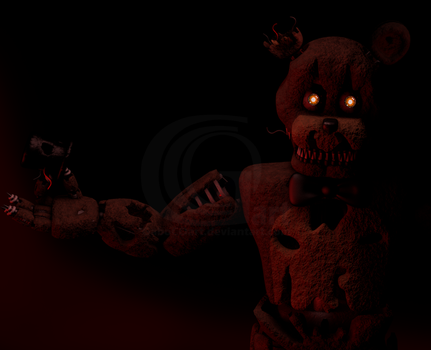 Cinema4D Nightmare Freddy!! (Freddles Missing) by GaboCOart