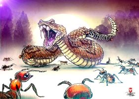 SNAKE vs ANTS by pitnerd