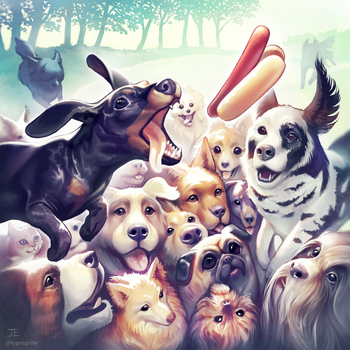 Dogs chasing a hotdog by typesprite