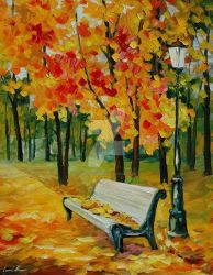 White Bench by Leonid Afremov by Leonidafremov