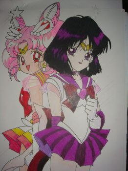 Mini Moon and Sailor Saturn by silvermoonmagic