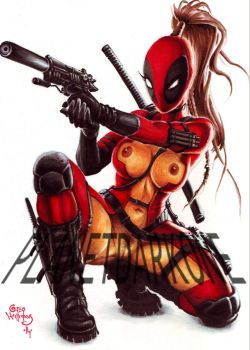 Lady Deadpool CLEARING AN EXIT by PlanetDarkOne