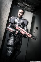 Commander Shepard,taking cover. by NYCAssassin