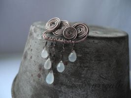 Rain cloud copper Moonstone brooch by nurrgula