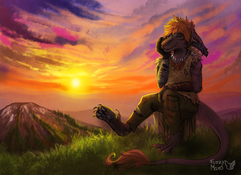 Chilling during sunset by FuzzyMaro
