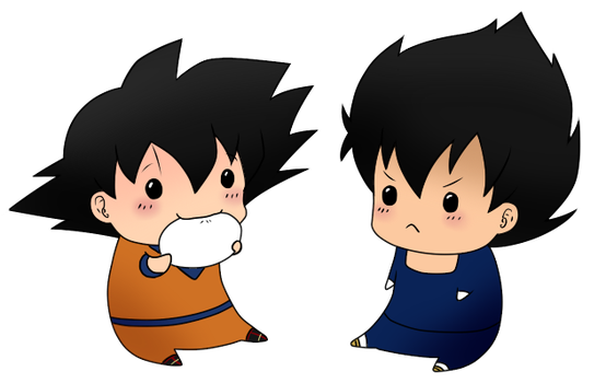 Chibi Vegeta and Goku by leeniej