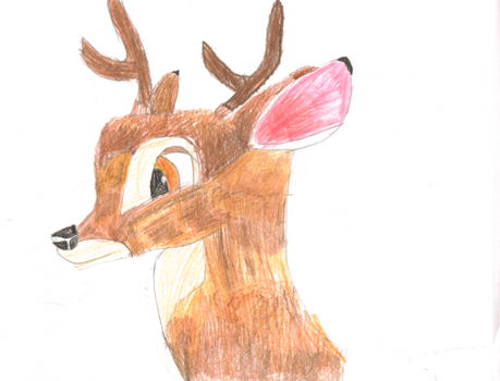 Colored Bambi drawing by Fawnadeer