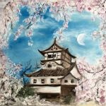 Castle covered with cherry blossoms by Onkyo093