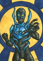 Blue Beetle Sketch Card by ibroussardart