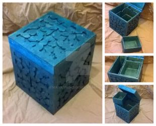 Cyan floral jewelry box by MankyMind