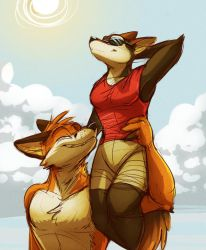 Commission: AJ-The-Fox (Soaking Up Some Sun) by Temiree