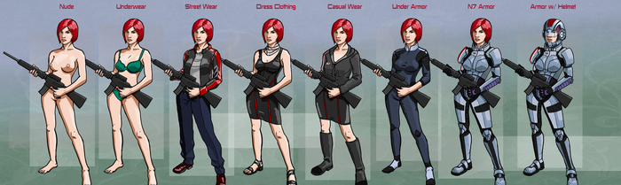 Mass Effect - Commander Shepard's Wardrobe by Garrenh