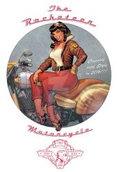 Betty Page Riding the Rocketeer Motorcycle by StephaneRoux