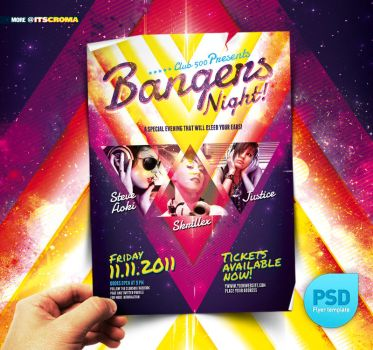 PSD Night Club Party Flyer Bangers by itscroma