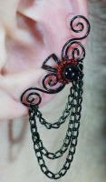 Swirly Ear Cuff with Chains by Gailavira