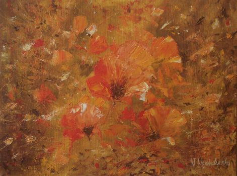 Flowers of poppies by flitart